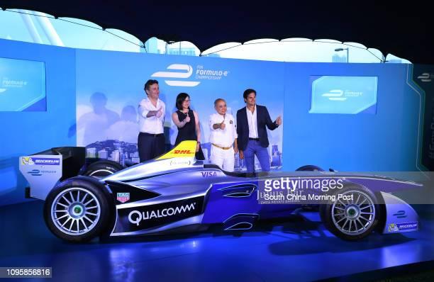 Formula E CEO Alejandro Agag Formula Electric Racing CEO May Tong Hong Kong Automobile Association President Lawrence Yu Kamkee and FIA Formula E...