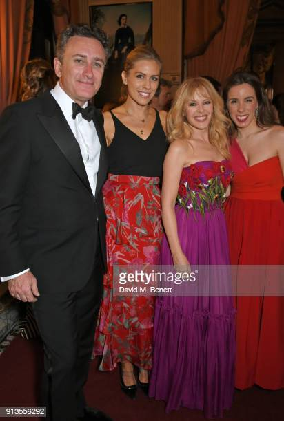 FIA Formula E CEO Alejandro Agag Nicki Shields Kylie Minogue and Ana Aznar Botella attend the official gala dinner on the eve of the first all...