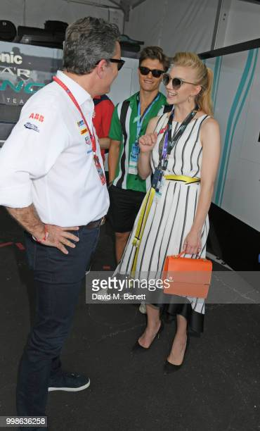Formula E CEO Alejandro Agag Oliver Cheshire and Natalie Dormer attend the Formula E 2018 Qatar Airways New York City EPrix the double header season...