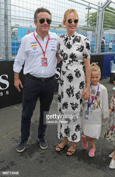Formula E CEO Alejandro Agag Uma Thurman and daughter Luna ThurmanBusson attend the Formula E 2018 Qatar Airways New York City EPrix the double...