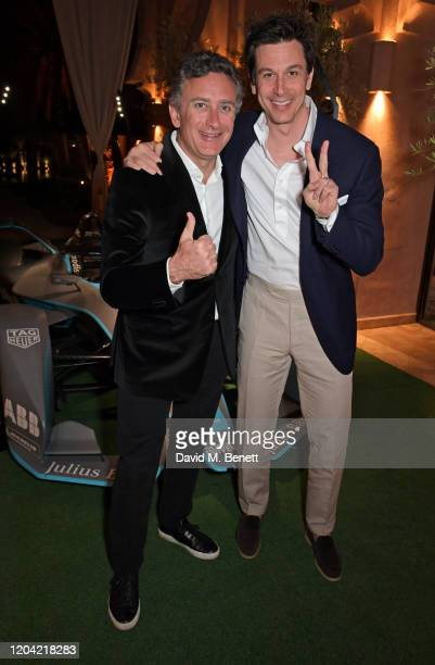 Formula E Chairman Alejandro Agag and Toto Wolff attend The ABB FIA Formula E Mad Hatters Moroccan Tea Party in celebration of the 2020 Marrakesh...