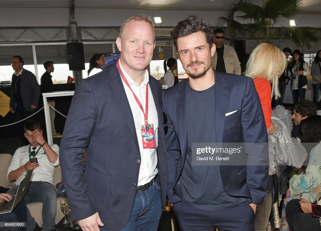 Formula E Chairman Simon Freer (L) and Orlando Bloom attend the ABB FIA Formula E Marrakech E-Prix on January 13, 2018 in Marrakech, Morocco.