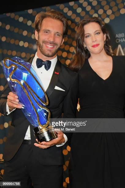Formula E Champion JeanEric Vergne and Liv Tyler attend the 2017/18 ABB FIA Formula E Championship Awards Dinner following the Formula E 2018 Qatar...