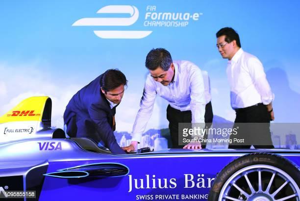 FIA Formula E Champion Nelson Piquet Junior Chief Executive Leung Chunying and Secretary for Commerce and Economic Development Gregory So Kamleung...