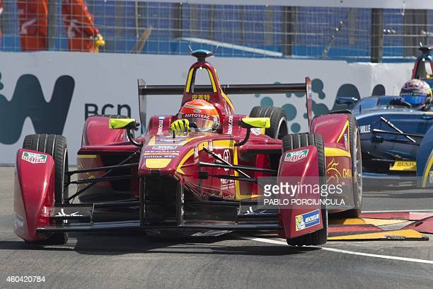 Formula E China Racing's Brazilian driver Nelson Piquet Jr powers his car during the Punta del Este Formula E Grand Prix race in Punta del Este...