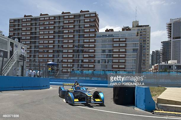 Formula E driver EDamsRenault's Sebastian Buemi powers his cars during a complete shakedowns in Punta del Este resort some 134km east of Montevideo...