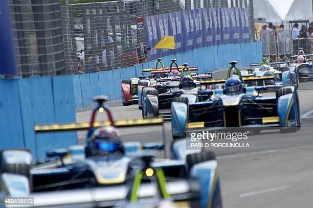 Formula E drivers compete during the Punta del Este Formula E Grand Prix race in Punta del Este resort some 134km east of Montevideo on December 13...