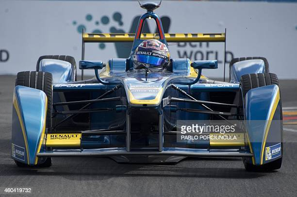 Formula E EDamsRenault Swiss driver Sebastian Buemi powers his car during the Punta del Este Formula E Grand Prix race in Punta del Este resort some...