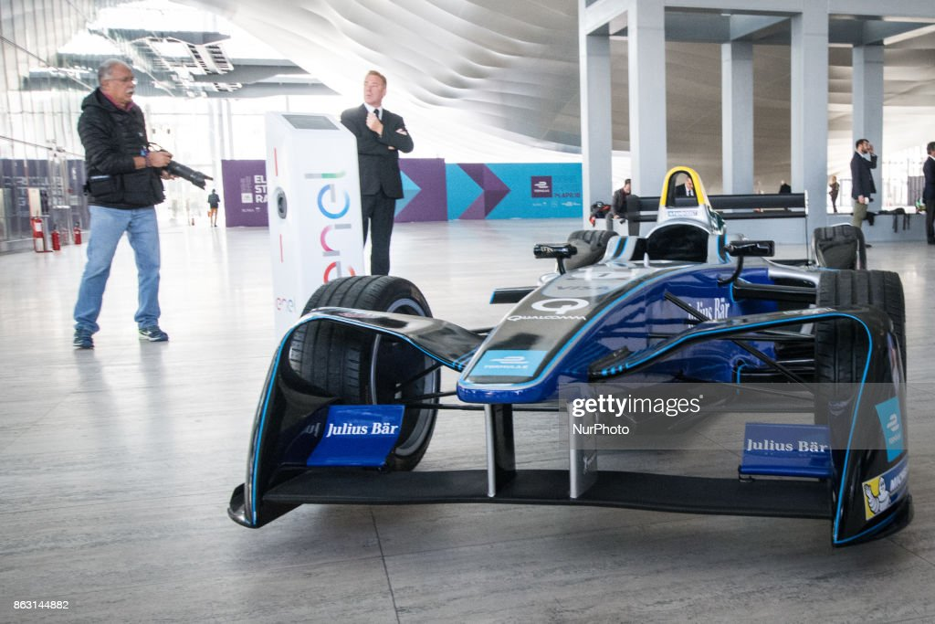 A Formula E racing car seen during a press conference in Rome, Italy on October 19, 2017. Rome will be hosting a Formula E world championship race next April 2018.
