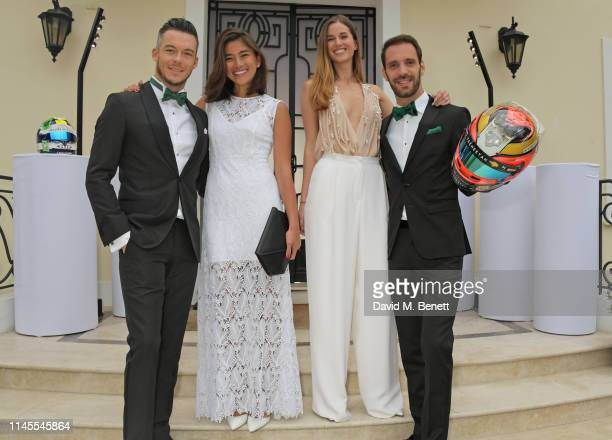 Formula E racing driver Andre Lotterer Takako Sato and Formula E racing driver JeanEric Vergne attend a private dinner hosted by Alejandro Agag to...