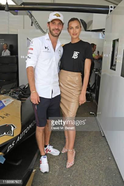 Formula E racing driver JeanEric Vergne and Irina Shayk attend the Formula E 2019 New York City EPrix the double header season finale of the 2018/19...