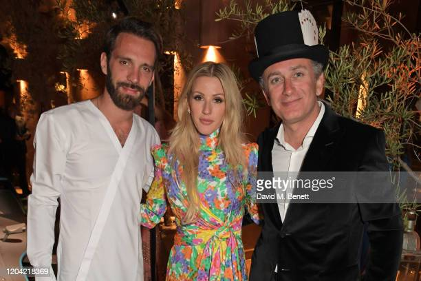 Formula E racing driver JeanEric Vergne Ellie Goulding and Formula E Chairman Alejandro Agag attend The ABB FIA Formula E Mad Hatters Moroccan Tea...