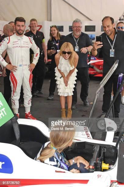 Formula E racing driver Jose Maria Lopez Kylie Minogue and Andronico Luksic Jr attend the ABB FIA Formula E Antofagasta Minerals Santiago EPrix on...