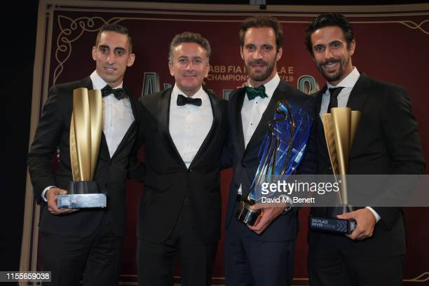 Formula E racing driver Sebastien Buemi, Formula E CEO Alejandro Agag, Formula E racing driver Jean-Eric Vergne and Formula E racing driver Lucas di...