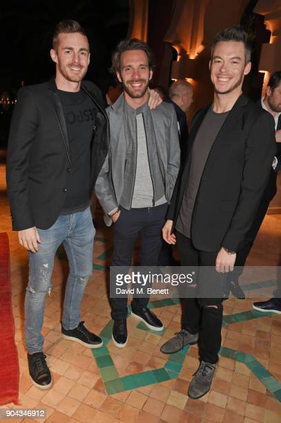 FIA Formula E racing drivers James Rossiter JeanEric Vergne and Andre Lotterer attend Orlando Bloom's birthday party with ABB FIA Formula E...