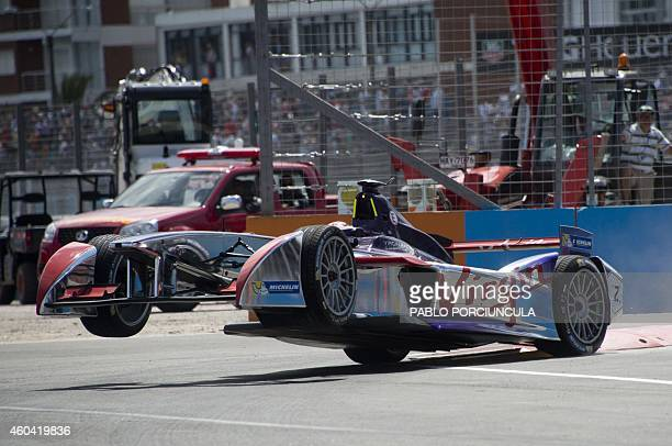 Formula E Virgin Racing British driver Sam Bird crashes during the Punta del Este Formula E Grand Prix race in Punta del Este resort some 134km east...