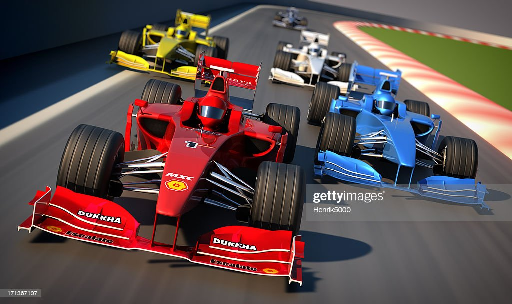 Formula One cars racing : Stock Photo
