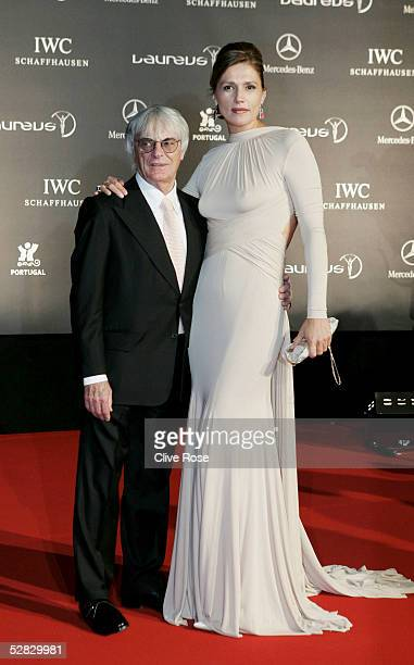 Formula One chief Bernie Ecclestone and wife Slavica arrive at the Laureus/Vogue welcome party on May 15, 2005 at Farol Design Hotel, Estoril,...