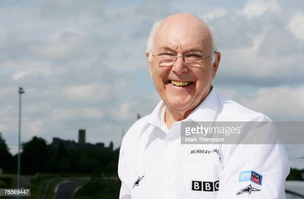 Formula One commentator Murray Walker poses during practice for the European Grand Prix at Nurburgring on July 20 2007 in Nurburg Germany