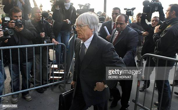 Formula One commercial rightsholder Bernie Ecclestone arrives at FIA headquarters in Paris on September 21 2009 for an hearing at the World Motor...