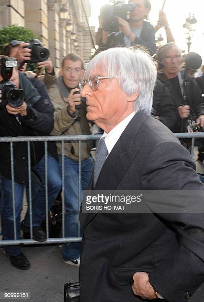 Formula One commercial rights-holder Bernie Ecclestone arrives at FIA headquarters in Paris on September 21, 2009 for an hearing at the World Motor...