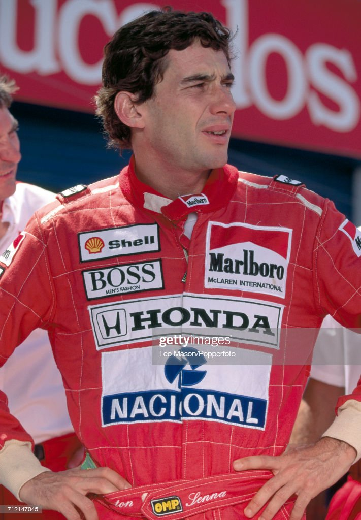 Formula One driver Ayrton Senna (1960-1994) of Brazil posed during competition at the Elsinore Grand Prix in Lake Elsinore, California, United States circa 1986.