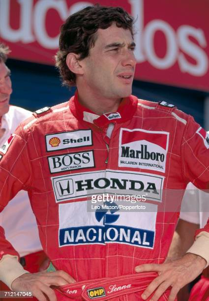 Formula One driver Ayrton Senna of Brazil posed during competition at the Elsinore Grand Prix in Lake Elsinore California United States circa 1986