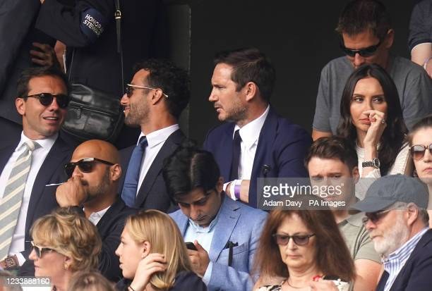 Formula One driver Daniel Ricciardo, former Chelsea player Frank Lampard and Christine Lampard on day eleven of Wimbledon at The All England Lawn...