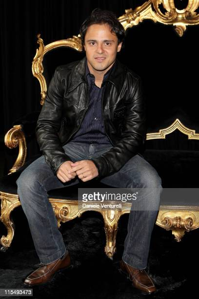 Formula One driver Felipe Massa poses at the Dolce Gabbana Prive prior to the show as part of Milan Fashion Week Autumn/Winter 2009/10 Menswear on...