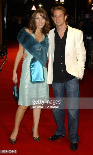 Formula One driver Jenson Button and his fiancee Louise Griffiths arrive for the UK Music Hall Of Fame live final at the Hackney Empire in east...