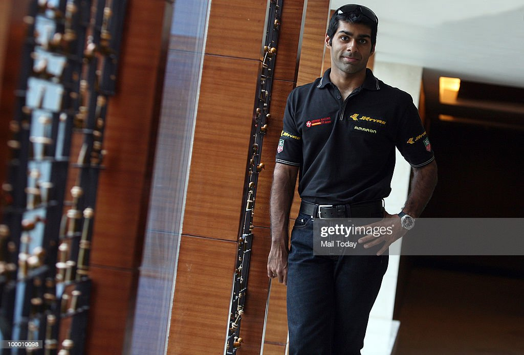 Formula One Driver Karun Chandhok poses for a picture in New Delhi on May 19, 2010.