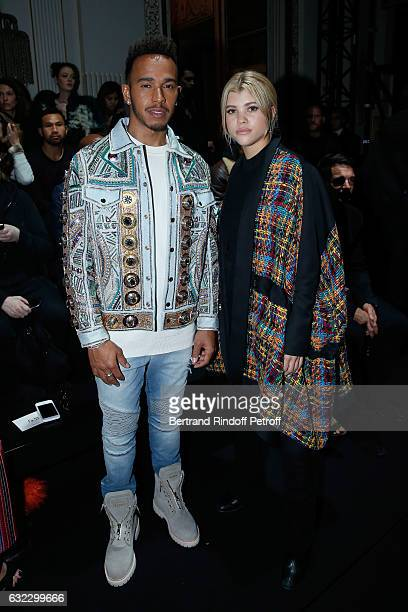 Formula One driver Lewis Hamilton and Sofia Richie attend the Balmain Menswear Fall/Winter 20172018 show as part of Paris Fashion Week on January 21...