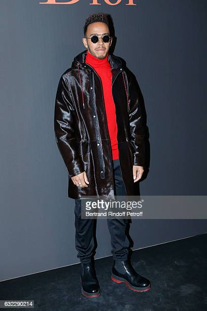 Formula One driver Lewis Hamilton attends the Dior Homme Menswear Fall/Winter 20172018 show as part of Paris Fashion Week on January 21 2017 in Paris...