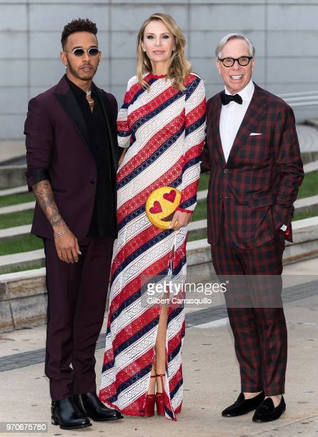 Formula One driver Lewis Hamilton designers Dee Ocleppo and Tommy Hilfiger are seen arriving to the 2018 CFDA Fashion Awards at Brooklyn Museum on...