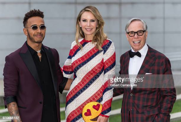 Formula One driver Lewis Hamilton fashion designer Dee Ocleppo Hilfiger and fashion designer Tommy Hilfiger are seen arriving to the 2018 CFDA...