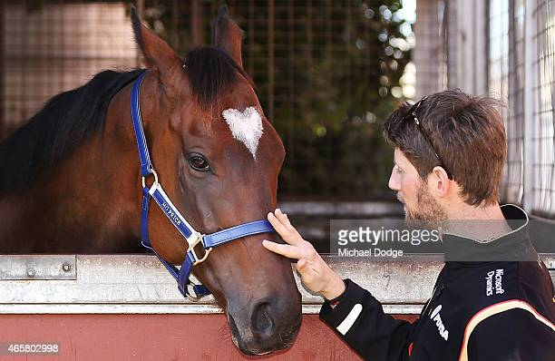 Formula One driver Romain Grosjean meets Lankan Rupee at Caulfield Racecourse on March 11 2015 in Melbourne Australia
