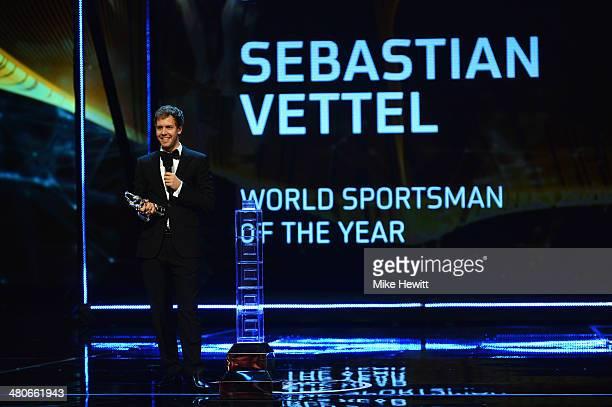 Formula One Driver Sebastian Vettel speaks after winning the Laureus World Sportsman of the Year Award during the 2014 Laureus World Sports Award...