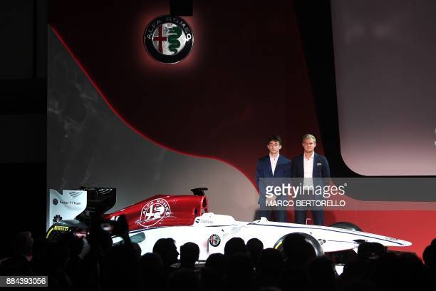 Formula One drivers Charles Leclerc of Monaco and Marcus Ericsson of Sweden pose during the presentation of the new Alfa Romeo Sauber Formula One...