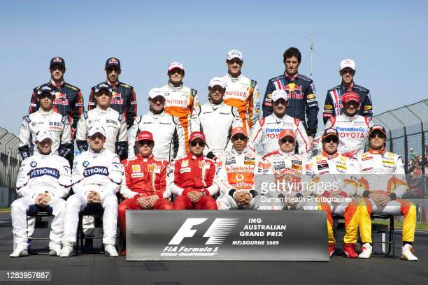 Formula One drivers gathered together for the annual group photograph at the 2009 Australian Grand Prix at the Melbourne Grand Prix Circuit,...