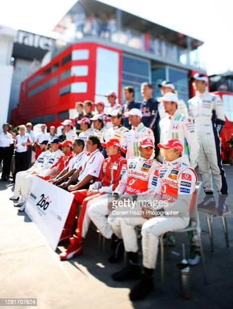 Formula One drivers group photo to commemorate F1 tyre suppliers Bridgestone's 200th grand prix at the 2008 European Grand Prix at the Valencia...