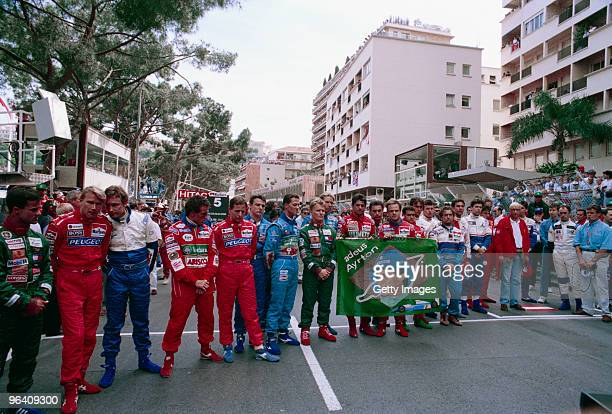Formula One drivers pay their respects to the late Ayrton Senna at the Monaco Grand Prix Monte Carlo 15th May 1994 Senna who holds the record for the...