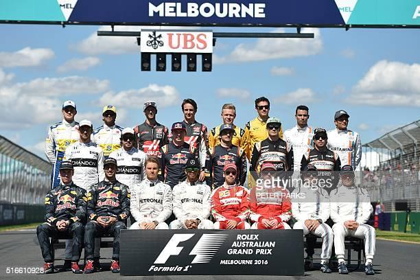 Red Bull Racing's Russian driver Daniil KvyatRed Bull Racing's Australian driver Daniel Ricciardo Mercedes AMG Petronas F1 Team's German driver Nico...
