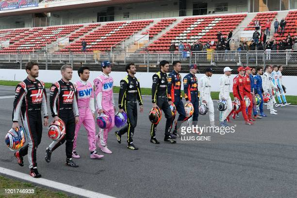 Formula One drivers take part in a TV documentary shooting ahead of the tests for the new Formula One Grand Prix season at the Circuit de Catalunya...