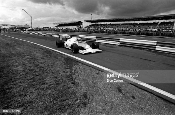 Formula One Grand Prix racing driver Alain Prost driving for McLarenTAG exits the pit lane in his car to join the circuit during a qualifying session...