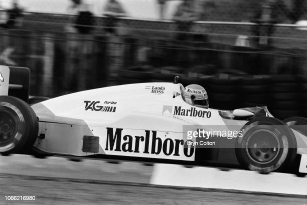 Formula One Grand Prix racing driver Nikki Lauda driving for McLarenTag drives the car during a qualifying session for the 1985 British Grand Prix at...