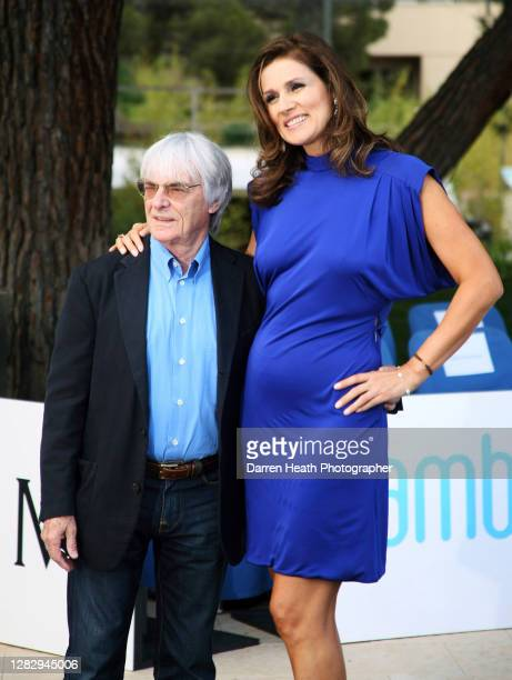 Formula One Group Chief Executive Bernie Ecclestone and his wife Slavica Ecclestone at the Monaco Amber Fashion Show at the 2008 Monaco Grand Prix,...