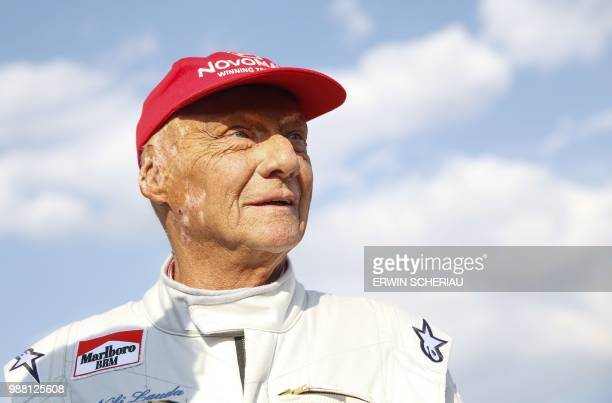 Formula One legend Austrian Niki Lauda attends the legends race at the racetrack in Spielberg on June 30 ahead of the Austrian Formula One Grand Prix...