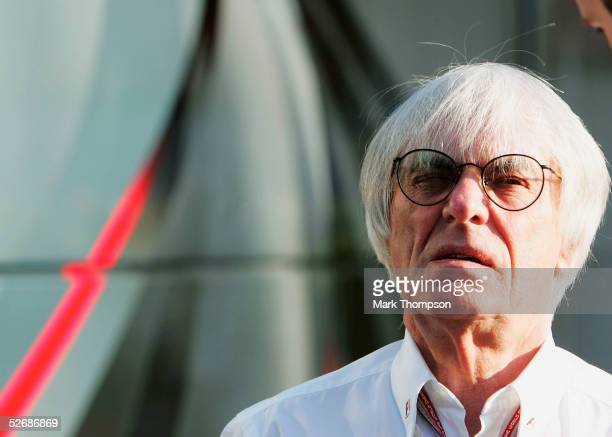 Formula One Manager Bernie Ecclestone looks on during the practice session prior to qualifying for the San Marino F1 Grand Prix at the San Marino...