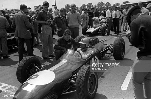 Formula One Motor Racing British Grand Prix Silverstone Northamptonshire Circa 1962 Driver Jack Brabham sits in his Lotus car in the grid before the...