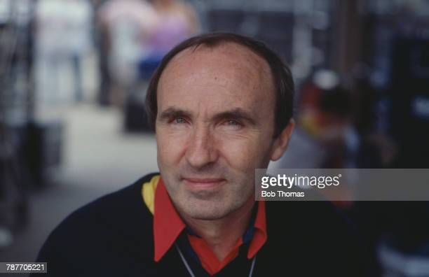 Formula One motor racing team manager Frank Williams of the Canon Williams Team pictured during the 1988 Brazilian Grand Prix at Autodromo...